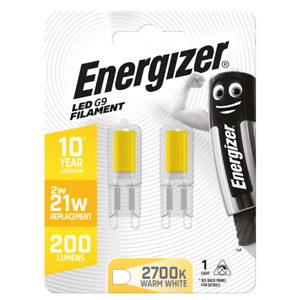 Twin Pack 2w=20w Energizer LED G9 ECO Filament capsule bulbs Warm or Daylight