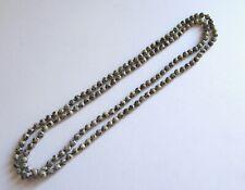 "Dalmation Jaspar Necklace--round beads off white- black  -60"" long"