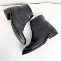 Loeffler Randall Size 10 Felix Black Ankle Boots Zip Leather Womens