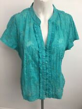 Marks & Spencer teal semi sheer floral blouse top cruise holiday Ladies size 16