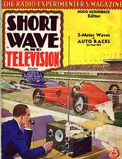 SHORT WAVE Radio & TELEVISION Oct 1937 PULP STYLE MAG Hugo Gernsback AUTO RACE c