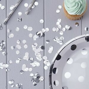 SILVER DOT CONFETTI X-Large Table Party Shiny Confetti 14g Birthdays Anniversary