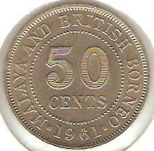 Offer> Malaya QEll  50cents 1961 coin high grade! lustre??