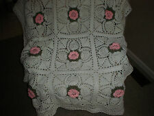 "Victorian Pineapple & Rose Hand Crocheted Afghan - NEW - Handmade - 50"" X 62"""