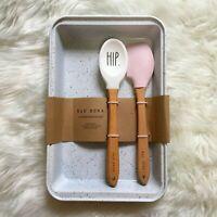 Rae Dunn HIP HOP White Pink 3 Piece Baking Set Loaf Pan Spatula Spoon Easter