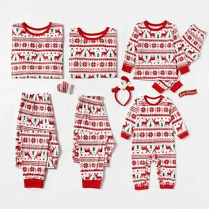 Xmas Nightwear Christmas Pajamas Sets Family Matching Sleepwear Loungewear Suit
