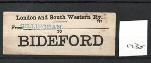 London & South Western Railway LSWR - Luggage Label (1735) Gillingham - Bideford