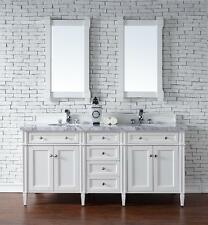 "72"" James Martin Brittany White Double Bathroom Vanity 4 Cm Carrara White Marble"