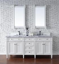 "72"" James Martin Brittany White Double Bathroom Vanity 4 CM Carrara White Marble"