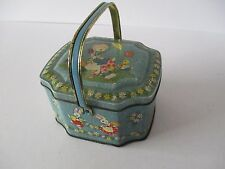 VINTAGE GEORGE W. HORNER SWEET TIN WITH HANDLE - DUCKS , CHICKS AND RABBITS
