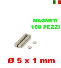 100 MAGNETI NEODIMIO 5x1 mm CALAMITA POTENTE FIMO CERAMICA MAGNETE CALAMITE