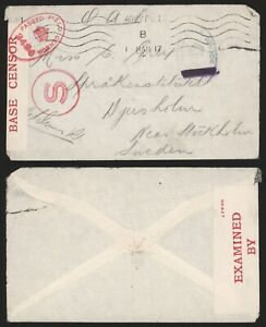 GB WWI 1917 - Field Post Cover to Sweden - Censor D222