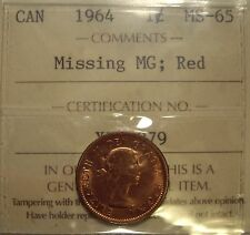 Canada Elizabeth II 1964 Missing MG Small Cent - ICCS MS-65 (XHL 879)