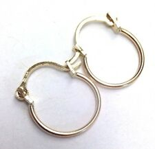 "1/2""  Solid 14K Yellow Gold Hoop Snap Closure Pierced Earrings"