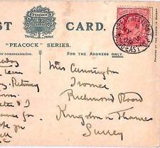 BO2 1908 Go chemin de fer * Great Western TPO Going East * RARE code * W * cachet postal Carte