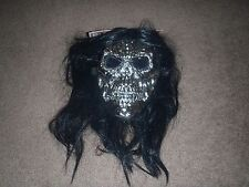 Evil Scary Silver Skull Halloween Costume Mask Platinum with attached wig