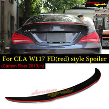 for Benz W117 Cla45 Fd Style Dry Carbon Fiber Red Line Rear WIng Spoiler 2013-in