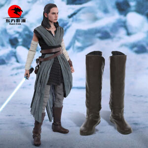 DFYM Star Wars Rey Cosplay Boots The Last Jedi Faux Leather Shoes High Tube