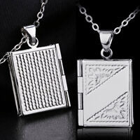 Women Men's Silver Book Box Photo Locket Pendant Necklace Chain Y1D9