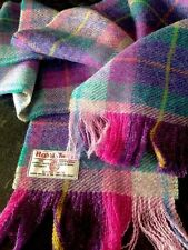 Luxury Harris Tweed Wool Check Long Large Scarf Purple Aubergine Pink Teal Lilac