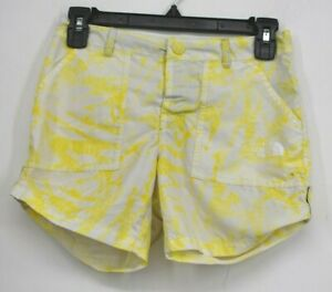 The North Face Girls Yellow Splatter Shorts Snap Front Adjustable Waist M 10/12