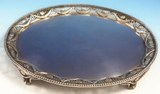 Joseph Cradduck English Sterling Silver Salver Tray Footed Swags Beads (#3041)