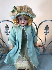18 To 24 Inch Antique Doll Blue Ensemble