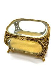 VINTAGE MATSON GILT FILIGREE BEVELED CLEAR GLASS JEWELRY CASKET BOX