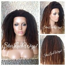 Afro Kinky Curly Ombre Natural Lace Front Wig Senegal Havana Marley Heat Safe