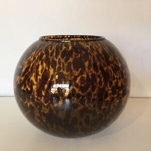 Vintage Glass Tortoise Shell Speckled Vase Round Sphere Brown Black Bowl