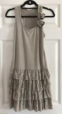 Boutique Grey Suede Feel Perforated Layered Racerback Party Dress LF UO ZARA Xs