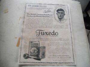 Vintage Tuxedo Tobacco Advertising Poster Ty Cobb Frameable