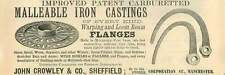 1877 John Crowley Sheffield Malleable Iron Castings Ad
