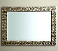 John Lewis Wall  Mirror RRP £175  Wood Mosaic Frame Antique Silver 117x92cm New