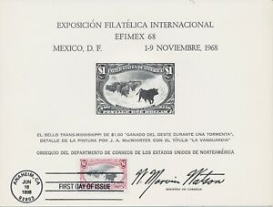 #3210 $1 Western Cattle in a Storm Trans-Mississippi FDC on Mexico Stamp Exposit