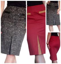Knee Length Business Check Regular Size Skirts for Women