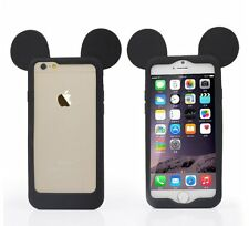 For iPhone 6 / 6S - SOFT SILICONE RUBBER SKIN CASE COVER BLACK MICKEY MOUSE EARS