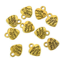 Tibetan Alloy Heart Charm 'Made With Love' Gold Pendant 12mm Pack of 10 (H91/6)