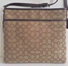 NWT Coach 58285 Outline Signature File Bag Crossbody Handbag Canvas Khaki Brown