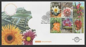 NETHERLAND - 2002 FLORIADE Expo. FLOWERS  block of 6 stamps  VF Used on FDC