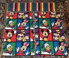 Vtg 4pc Disney Mickey Mouse Color Block Sheet Curtains Valance Goofy Usa Twin