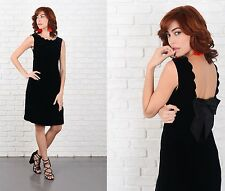 Vintage 70s Black Velvet Dress Scalloped Mod Party Cocktail Mini XS