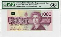"Canada $1000 Dollar Banknote 1988 BC-61aA PMG GEM UNC 66 EPQ ""Replacement"" Star"