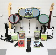Xbox 360 Rock Band Mega Bundle - Drums, 2 Guitars, Mic & 7 Games - Guitar Hero