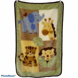 Just Born Elephant Giraffe Lion Tiger Fuzzy Shaggy Baby Blanket Green Brown Trim