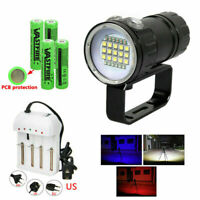 Underwater Photography Diving 27LED 18000LM Flashlight Torch White Red Blue Lamp