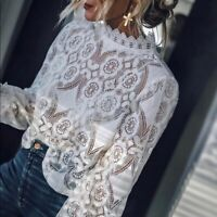 NWT Women's White Cropped Lace Long Sleeve Vtg 70s Insp Top Blouse S - L