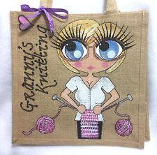 Personalised Handpainted Knitting Jute Handbag Hand Bag Gift For Grandma Nan