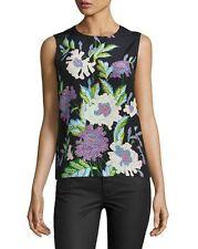 NWT Diane von Furstenberg Sleeveless Floral Silk Top in Curzon Black L $198