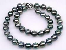 "AAA 18"" 9-10mm round tahitian black pearl necklace DA24"
